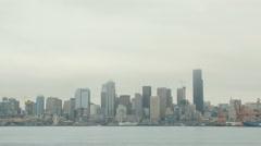 Gray Seattle, City, Skyline, Harbor Stock Footage