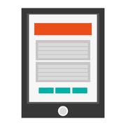 Cellphone with button and webpage on screen icon Stock Illustration