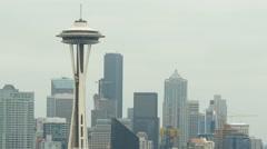 Space Needle, Skyline, Seattle, Gray Stock Footage