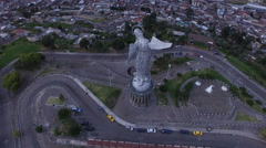 Over and around the backside of the Virgin of Quito Stock Footage