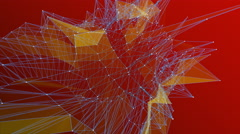 Abstract 3D line formation on red - stock footage