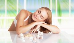 Woman on the spa resort Stock Photos