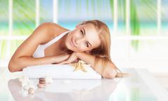 Beautiful woman on the spa resort Stock Photos