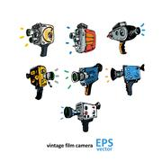Vintage video camera drawing on a white background - stock illustration