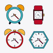 Icon set of colorfull Clocks. Time design. Vector graphic Stock Illustration