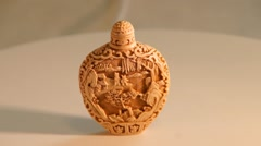 Carved Chinese snuff bottle Stock Footage