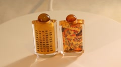 Two Chinese crystal snuff bottles Stock Footage