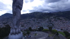 Rising above the Virgin of Quito Stock Footage