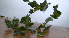 Kale falling in slow motion onto a cutting board - shot on Phantom Flex 4k - stock footage