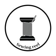 Sewing reel with thread icon - stock illustration