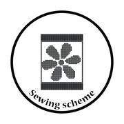 Sewing ornate scheme icon - stock illustration