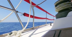 The deck white luxury yacht on the Mediterranean sea. Stock Footage