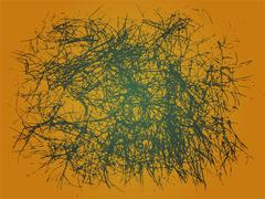 Abstract line and color from dry grass on yellow - stock illustration