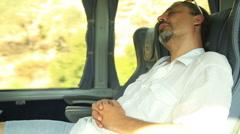 Man Sleeping In Bus 2 Stock Footage