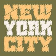 T shirt typography graphics New York drawn green - stock illustration