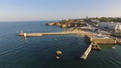 Harbour and Fort Lagos, Algarve, Portugal aerial view Stock Footage