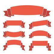 Orange ribbon banners set - stock illustration