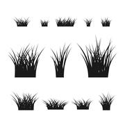 Grass bushes set black plant - stock illustration