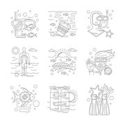 Undersea vacations of detailed line vector icons Piirros