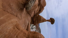 MoCo Tracking Time Lapse of Toadstool Hoodoos in Utah -Vertical Shot- Stock Footage