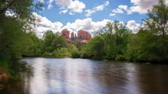 Time Lapse of Cathedral Rock over Reflecting River in Sedona, AZ -Pan Left- Stock Footage