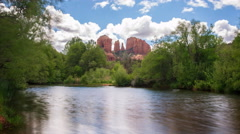 Time Lapse of Cathedral Rock over Reflecting River in Sedona, AZ -Zoom Out- - stock footage