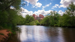Time Lapse of Cathedral Rock over Reflecting River in Sedona, AZ  - stock footage
