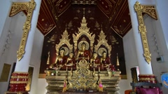 Zoom of a Buddha in a temple in Chiang Mai, Thailand. Stock Footage