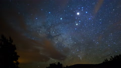 MoCo Astro Time Lapse of Milky Way over Desert Mountain in Arizona -Zoom Out- Stock Footage