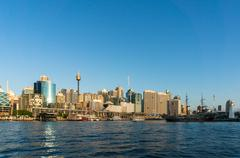 Sydney CBD city view of Darling Harbour and Sydney Tower Stock Photos