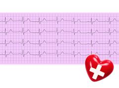 Heart analysis, electrocardiogram graph and red heart (ECG) Kuvituskuvat