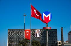 Metro, underground sign at Taksim in Istanbul, Turkey - stock photo