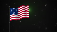 Fireworks and American Flag - stock footage