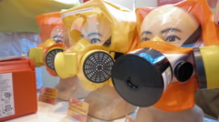 Samples of protective masks for safe breathing and eye protection Stock Footage
