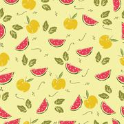 Seamless pattern with watermelon - stock illustration
