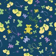 Cute Newborn seamless pattern - stock illustration