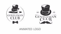Vintage gentlemen club logo animations - stock footage