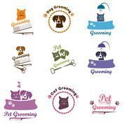 Pet grooming logo set - stock illustration
