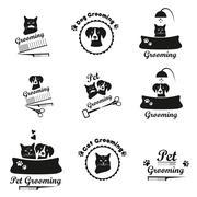 Pet grooming logo, label, bages black emblem collection - stock illustration