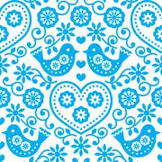 Folk art seamless blue pattern with flowers and birds Stock Illustration