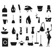 Laundry and Washing black icons set - stock illustration
