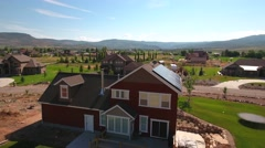 Aerial shot of the new solar panels on rooftop Stock Footage