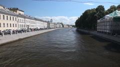 River Fontanka in Saint Petersburg Stock Footage