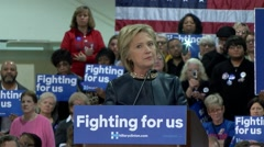 Hilllary Clinton speaks about the importance of Good Jobs. Stock Footage