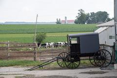 LANCASTER, USA - JUNE 25 2016 - Amish people in Pennsylvania. Amish are known - stock photo