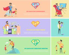Super Dad with his Kids Stock Illustration
