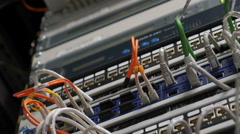 Cables and connections on network server Stock Footage