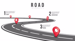 Road path with pin pointers and options - stock footage