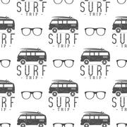 Vector Surfing Seamless pattern with surfing glass. Surfer van, glasses elements Stock Illustration