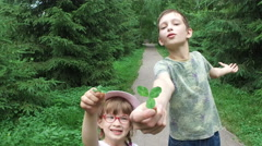 The manifestation of children's emotions. Teen boy and girl child having fun. Stock Footage